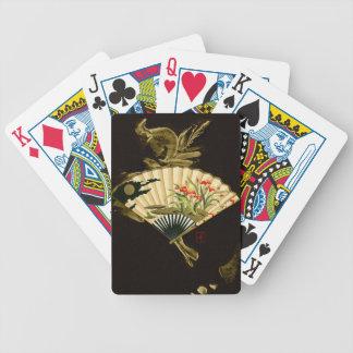 Fan oriental prensada con diseño floral baraja de cartas