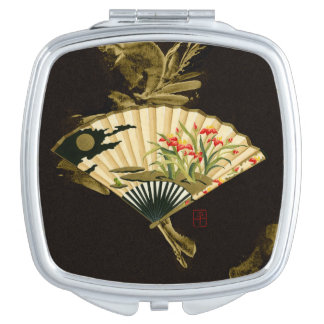 Fan oriental prensada con diseño floral espejos para el bolso