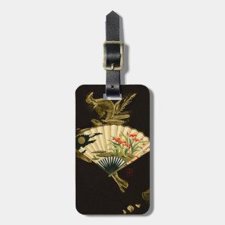 Fan oriental prensada con diseño floral etiquetas maletas