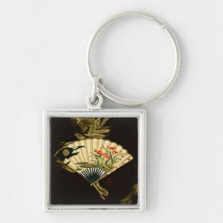 Fan oriental prensada con diseño floral llavero cuadrado plateado