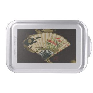 Fan oriental prensada con diseño floral molde para pasteles