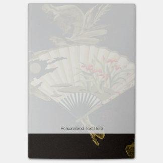 Fan oriental prensada con diseño floral post-it notas