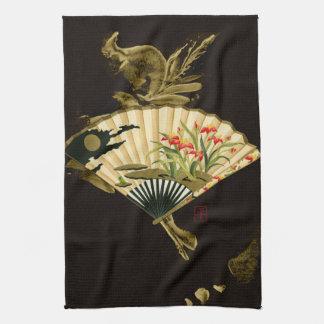 Fan oriental prensada con diseño floral toalla de cocina