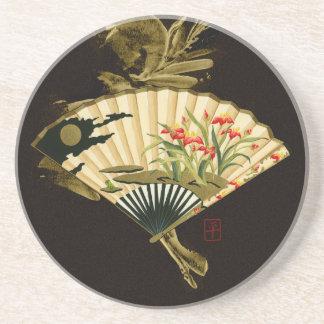 Fan oriental prensada con diseño floral posavasos personalizados