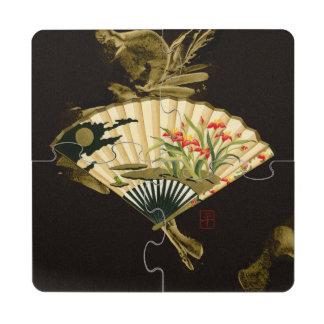 Fan oriental prensada con diseño floral posavasos de puzzle
