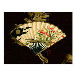 Fan oriental prensada con diseño floral postal