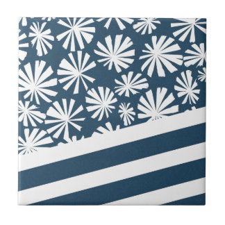 Fan Palm: Blue and White Ceramic Tile