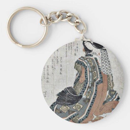 Fan plegable del ciprés japonés por Katsushika, Ho Llavero Redondo Tipo Pin