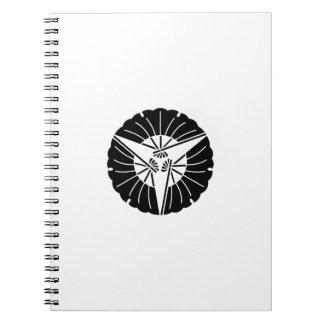 Fan-shaped three ginkgo leaves notebook