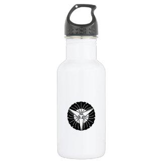 Fan-shaped three ginkgo leaves stainless steel water bottle