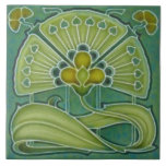 """Fan-tastic Repro Richards 1900 Art Nouveau Floral Ceramic Tile<br><div class=""""desc"""">Early 1900s tile in shades of Dusty teal, lime green, and gold. Pretty enough to inspire the color scheme for an entire room. Original reproduced here was made by H. Richards circa 1900. Although the original tile is embossed, this one just looks like it is ~ the actual tile is...</div>"""