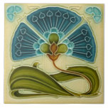 """Fan-tastic Repro Richards Art Nouveau Teal Floral Ceramic Tile<br><div class=""""desc"""">Early 1900s tile in shades of teal blue,  sienna,  olive green,  and cream. Original reproduced here was made by H. Richards. Although the original tile is embossed,  this one just looks like it is ~ the actual tile is flat.</div>"""