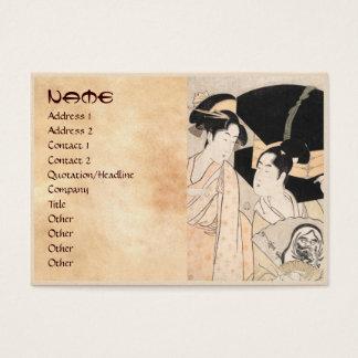 Fan Vendor Kitagawa Utamaro  japanese ladies Business Card