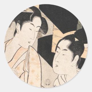 Fan Vendor Kitagawa Utamaro  japanese ladies Classic Round Sticker