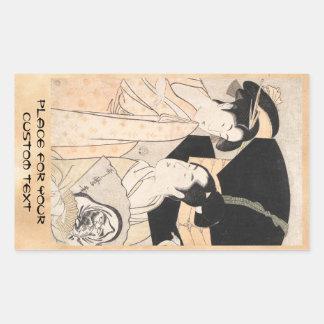 Fan Vendor Kitagawa Utamaro  japanese ladies Rectangular Sticker