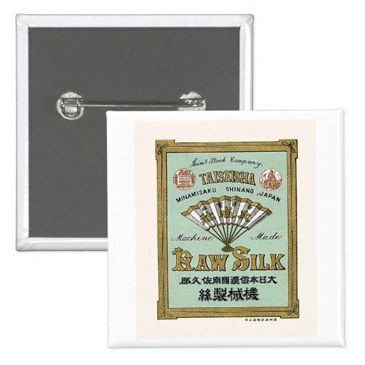 Fan Vintage Japanese Silk Label Pinback Buttons