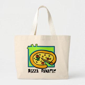 Fanático de la pizza bolsa tela grande