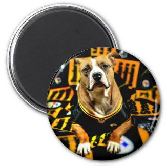 Fanático del fútbol del perro del rescate de imán redondo 5 cm