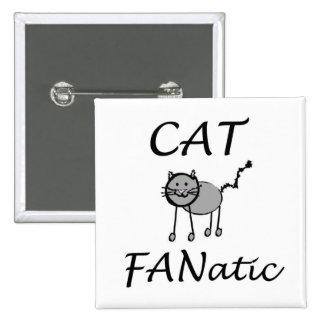 Fanático del gato pin cuadrado