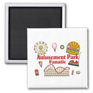 Fanático del parque de atracciones imán cuadrado