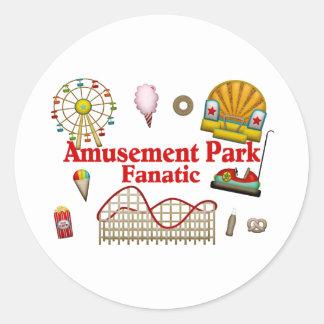 Fanático del parque de atracciones etiquetas redondas