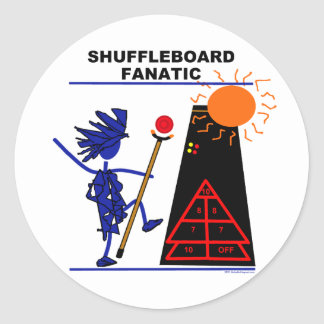 Fanático del Shuffleboard Pegatina Redonda