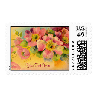 Fanciful and Feminine Floral Postage Stamps
