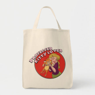 Fanciful Arts Kitty Lover organic grocery tote