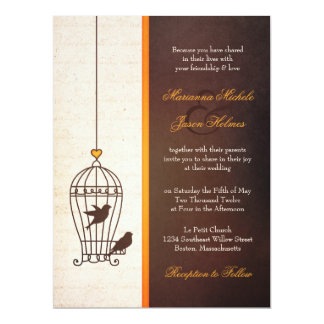 "Fanciful Bird Cage - Autumn Orange & Brown Wedding 6.5"" X 8.75"" Invitation Card"