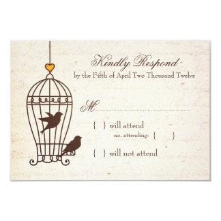 Fanciful Bird Cage - Autumn Orange Wedding RSVP 3.5x5 Paper Invitation Card