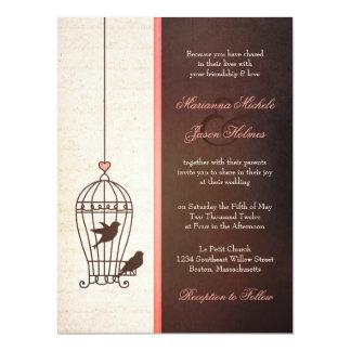 "Fanciful Bird Cage - Chocolate & Pink Wedding 6.5"" X 8.75"" Invitation Card"