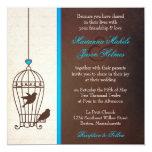 Fanciful Bird Cage - Chocolate & Teal Blue Wedding Custom Invitations