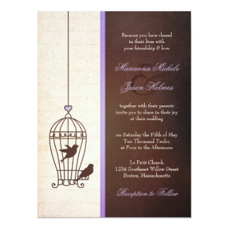 "Fanciful Bird Cage - Lavender & Brown Wedding 6.5"" X 8.75"" Invitation Card"