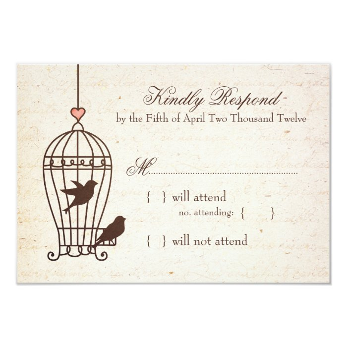 Fanciful Bird Cage - Pink & Chocolate Wedding RSVP Card
