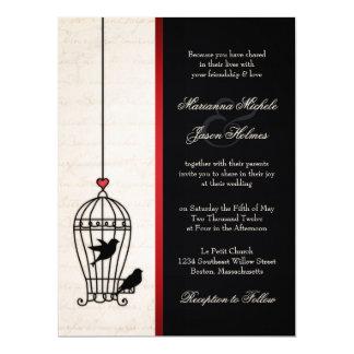 "Fanciful Bird Cage & Romantic Red Ribbon Wedding 6.5"" X 8.75"" Invitation Card"