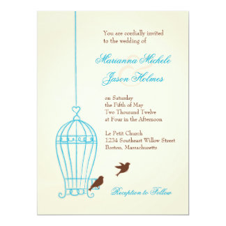 Fanciful Bird Cage Teal & Chocolate Wedding 6.5x8.75 Paper Invitation Card