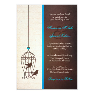 Fanciful Bird Cage - Teal & Chocolate Wedding Card