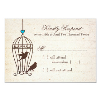 Fanciful Bird Cage - Teal & Chocolate Wedding RSVP 3.5x5 Paper Invitation Card
