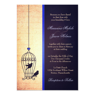 Fanciful Bird Cage with Blue Ribbon Wedding Card