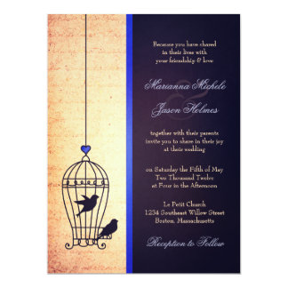 Fanciful Bird Cage with Blue Ribbon Wedding Custom Invites