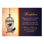 Fanciful Bird Cage with Gold Ribbon Reception 5x7 Paper Invitation Card