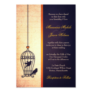 Fanciful Bird Cage with Gold Ribbon Wedding Card