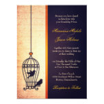 Fanciful Bird Cage with Gold Ribbon Wedding 6.5x8.75 Paper Invitation Card