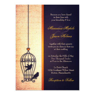 """Fanciful Bird Cage with Gold Ribbon Wedding 6.5"""" X 8.75"""" Invitation Card"""