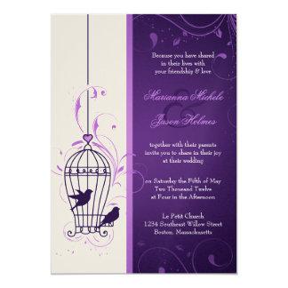 Fanciful Bird Cage with Swirls Aubergine Wedding 5x7 Paper Invitation Card