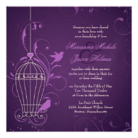 Fanciful Bird Cage with Swirls Aubergine Wedding Custom Announcement