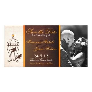 Fanciful Birdcage Autumn Orange Save the Date Card
