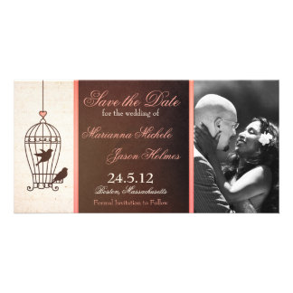 Fanciful Birdcage Chocolate & Pink Save the Date Card