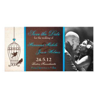 Fanciful Birdcage Chocolate & Teal Save the Date Card