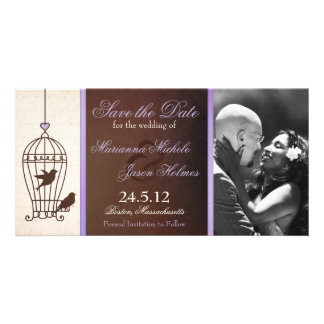 Fanciful Birdcage Lavender & Brown Save the Date Card